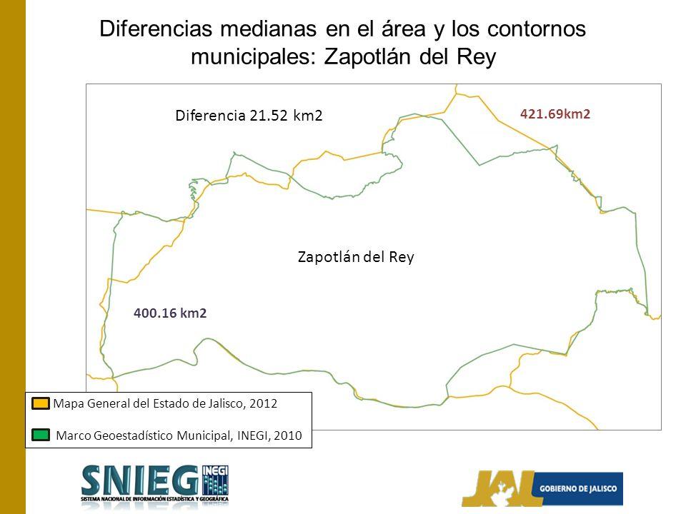 Diferencias medianas en el área y los contornos municipales: Zapotlán del Rey Mapa General del Estado de Jalisco, 2012 Marco Geoestadístico Municipal, INEGI, 2010 Zapotlán del Rey Diferencia 21.52 km2 400.16 km2 421.69km2