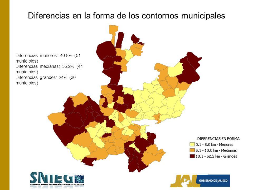 Diferencias menores: 40.8% (51 municipios) Diferencias medianas: 35.2% (44 municipios) Diferencias grandes: 24% (30 municipios) Diferencias en la forma de los contornos municipales