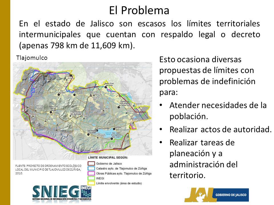 El Problema En el estado de Jalisco son escasos los límites territoriales intermunicipales que cuentan con respaldo legal o decreto (apenas 798 km de 11,609 km).