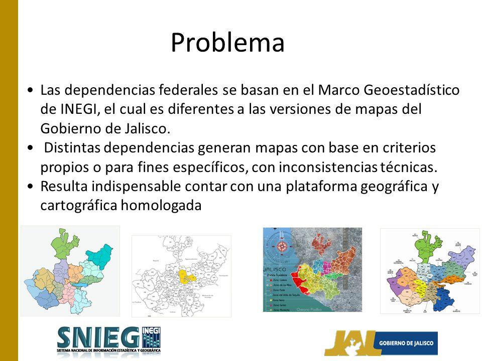 Problema Las dependencias federales se basan en el Marco Geoestadístico de INEGI, el cual es diferentes a las versiones de mapas del Gobierno de Jalisco.