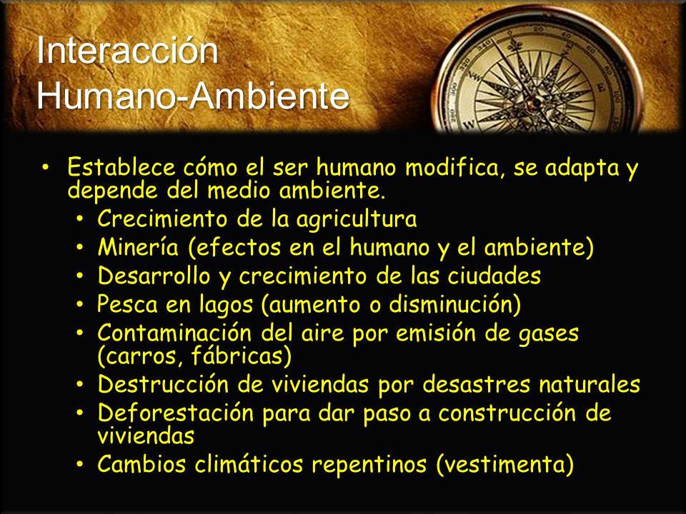 Interacción Humano-Ambiente Establece cómo el ser humano modifica, se adapta y depende del medio ambiente. Establece cómo el ser humano modifica, se a