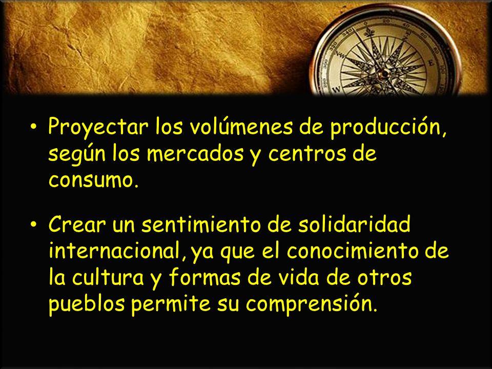 Proyectar los volúmenes de producción, según los mercados y centros de consumo. Proyectar los volúmenes de producción, según los mercados y centros de