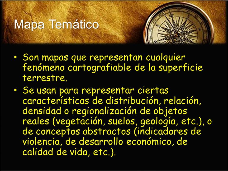 Mapa Temático Son mapas que representan cualquier fenómeno cartografiable de la superficie terrestre. Son mapas que representan cualquier fenómeno car
