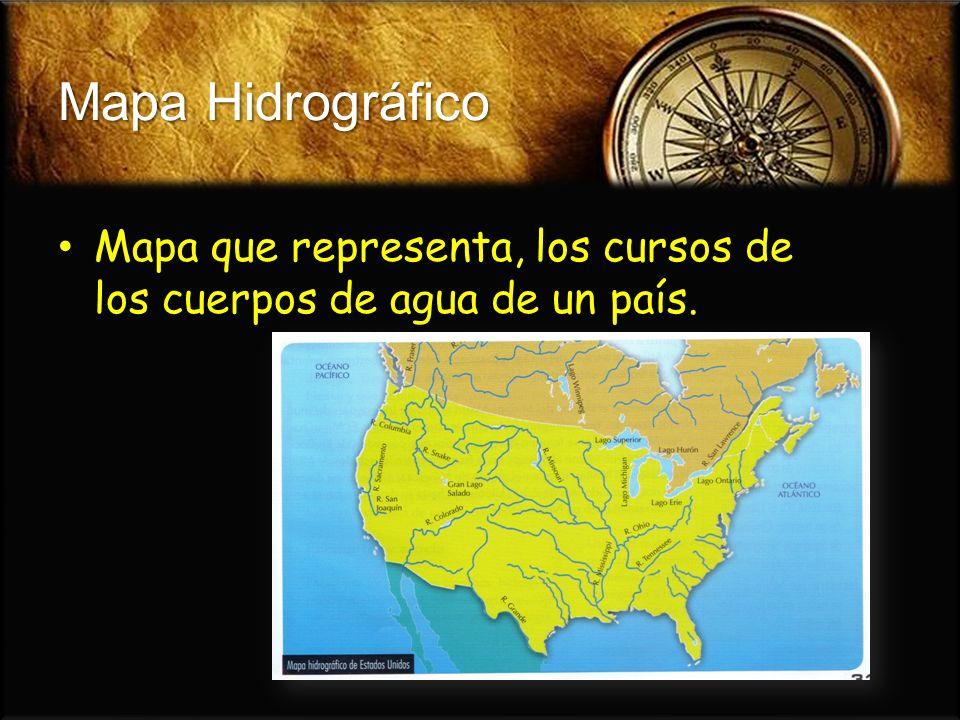 Mapa Hidrográfico Mapa que representa, los cursos de los cuerpos de agua de un país. Mapa que representa, los cursos de los cuerpos de agua de un país