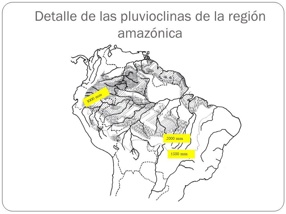 Detalle de las pluvioclinas de la región amazónica 1500 mm 2000 mm 3000 mm