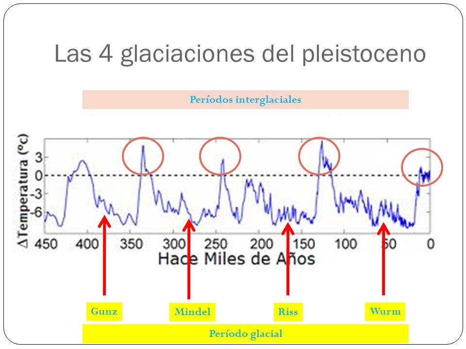 Las 4 glaciaciones del pleistoceno WurmGunz MindelRiss Período glacial Períodos interglaciales