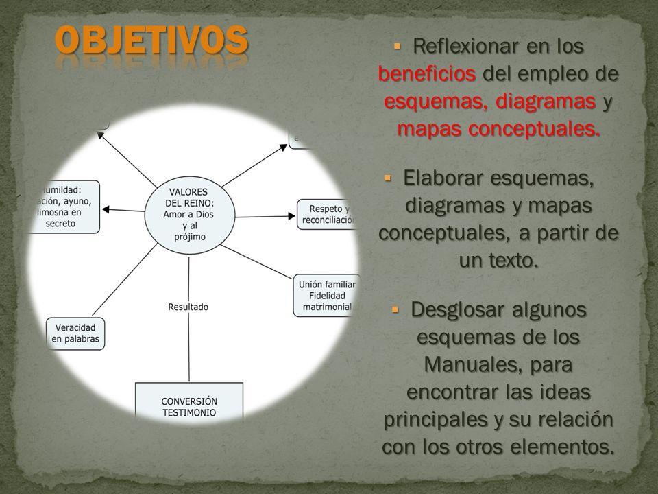 Reflexionar en los beneficios del empleo de esquemas, diagramas y mapas conceptuales. Reflexionar en los beneficios del empleo de esquemas, diagramas