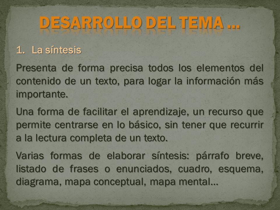 1.La síntesis Presenta de forma precisa todos los elementos del contenido de un texto, para logar la información más importante. Una forma de facilita