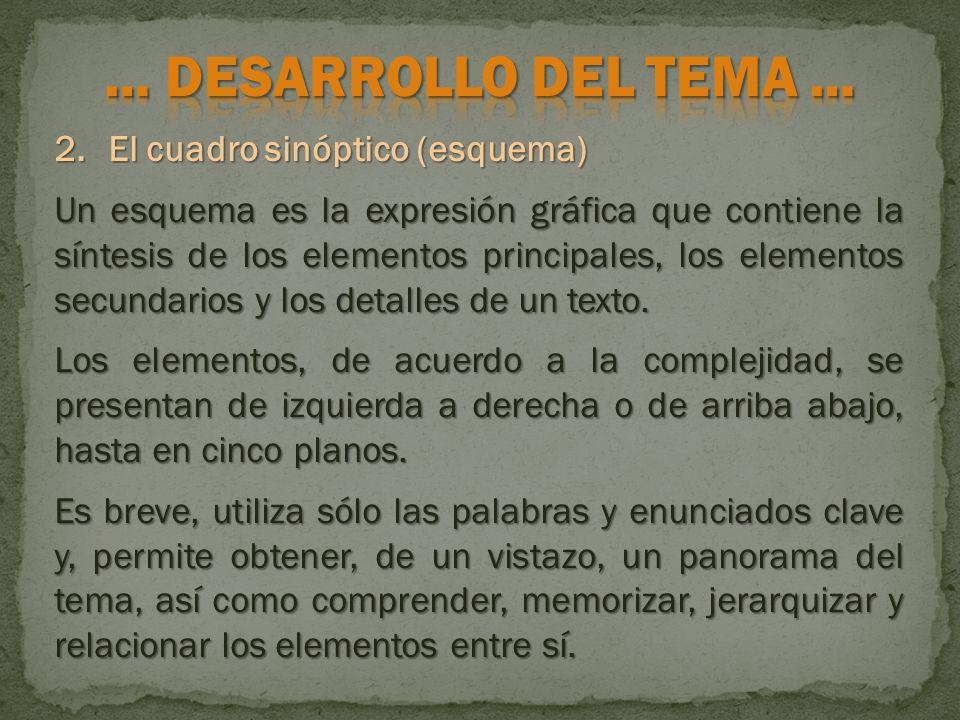 2.El cuadro sinóptico (esquema) Un esquema es la expresión gráfica que contiene la síntesis de los elementos principales, los elementos secundarios y