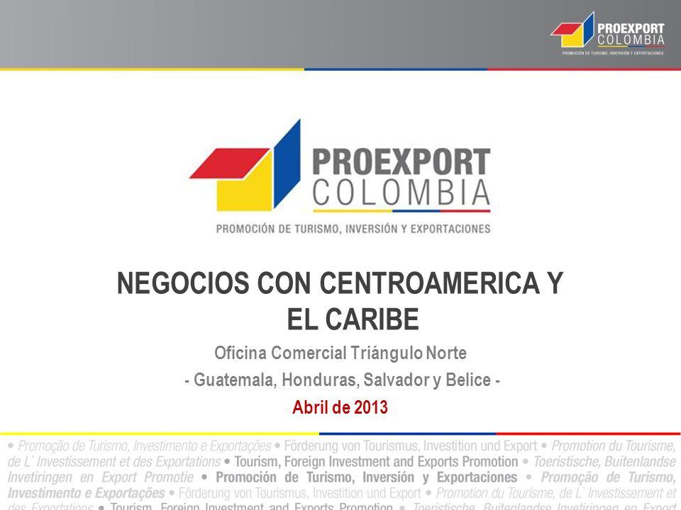 NEGOCIOS CON CENTROAMERICA Y EL CARIBE Oficina Comercial Triángulo Norte - Guatemala, Honduras, Salvador y Belice - Abril de 2013