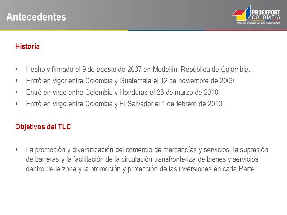 Antecedentes Historia Hecho y firmado el 9 de agosto de 2007 en Medellín, República de Colombia. Entró en vigor entre Colombia y Guatemala el 12 de no