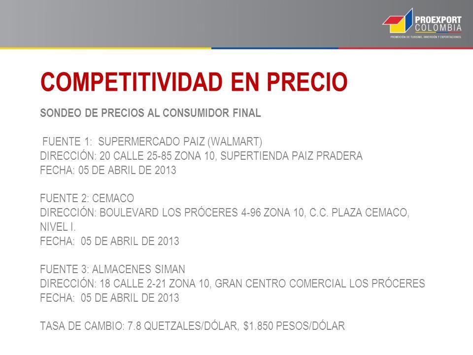 SONDEO DE PRECIOS AL CONSUMIDOR FINAL FUENTE 1: SUPERMERCADO PAIZ (WALMART) DIRECCIÓN: 20 CALLE 25-85 ZONA 10, SUPERTIENDA PAIZ PRADERA FECHA: 05 DE A