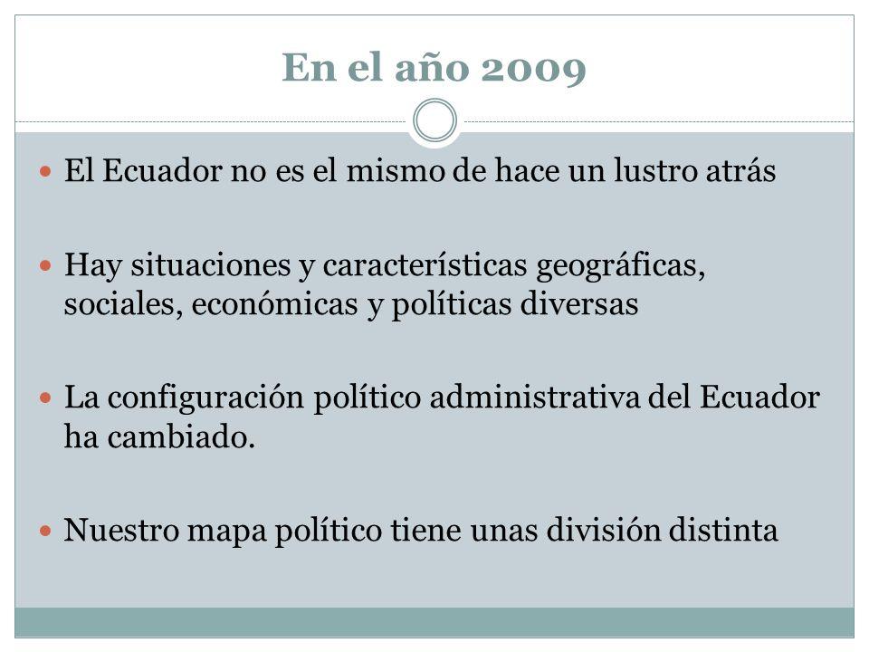 En el año 2009 El Ecuador no es el mismo de hace un lustro atrás Hay situaciones y características geográficas, sociales, económicas y políticas diver