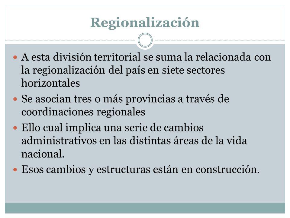 Regionalización A esta división territorial se suma la relacionada con la regionalización del país en siete sectores horizontales Se asocian tres o má