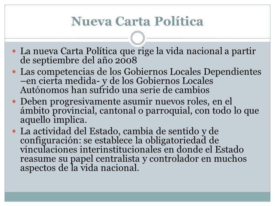 Nueva Carta Política La nueva Carta Política que rige la vida nacional a partir de septiembre del año 2008 Las competencias de los Gobiernos Locales D