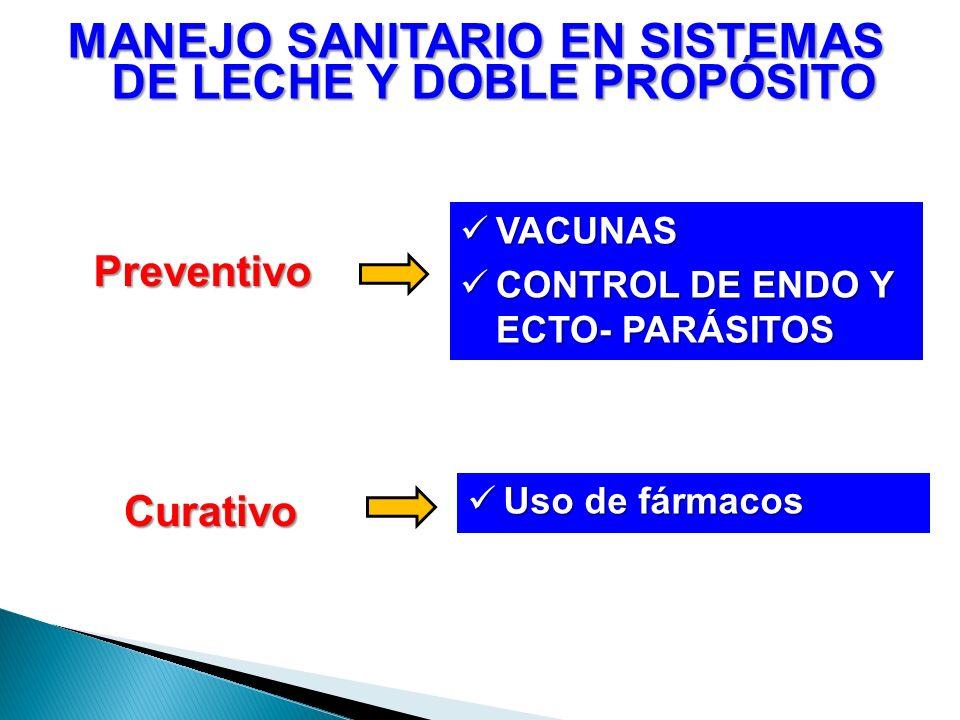 Preventivo MANEJO SANITARIO EN SISTEMAS DE LECHE Y DOBLE PROPÓSITO VACUNAS VACUNAS CONTROL DE ENDO Y ECTO- PARÁSITOS CONTROL DE ENDO Y ECTO- PARÁSITOS