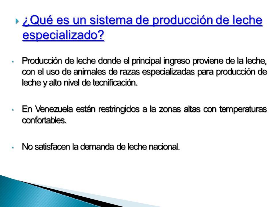 ¿Qué es un sistema de producción de leche especializado? ¿Qué es un sistema de producción de leche especializado? Producción de leche donde el princip