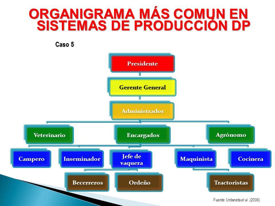ORGANIGRAMA MÁS COMUN EN SISTEMAS DE PRODUCCIÓN DP Presidente Gerente General Administrador VeterinarioEncargados CamperoInseminador Jefe de vaquera B