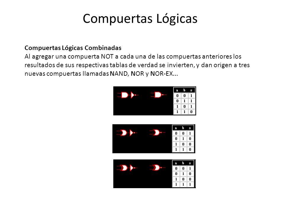 Compuertas Lógicas Compuertas Lógicas Combinadas Al agregar una compuerta NOT a cada una de las compuertas anteriores los resultados de sus respectivas tablas de verdad se invierten, y dan origen a tres nuevas compuertas llamadas NAND, NOR y NOR-EX...