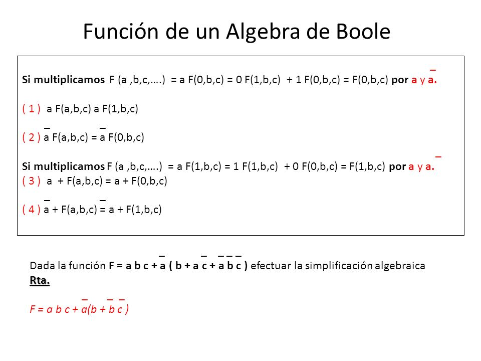 Función de un Algebra de Boole _ Si multiplicamos F (a,b,c,….) = a F(0,b,c) = 0 F(1,b,c) + 1 F(0,b,c) = F(0,b,c) por a y a.
