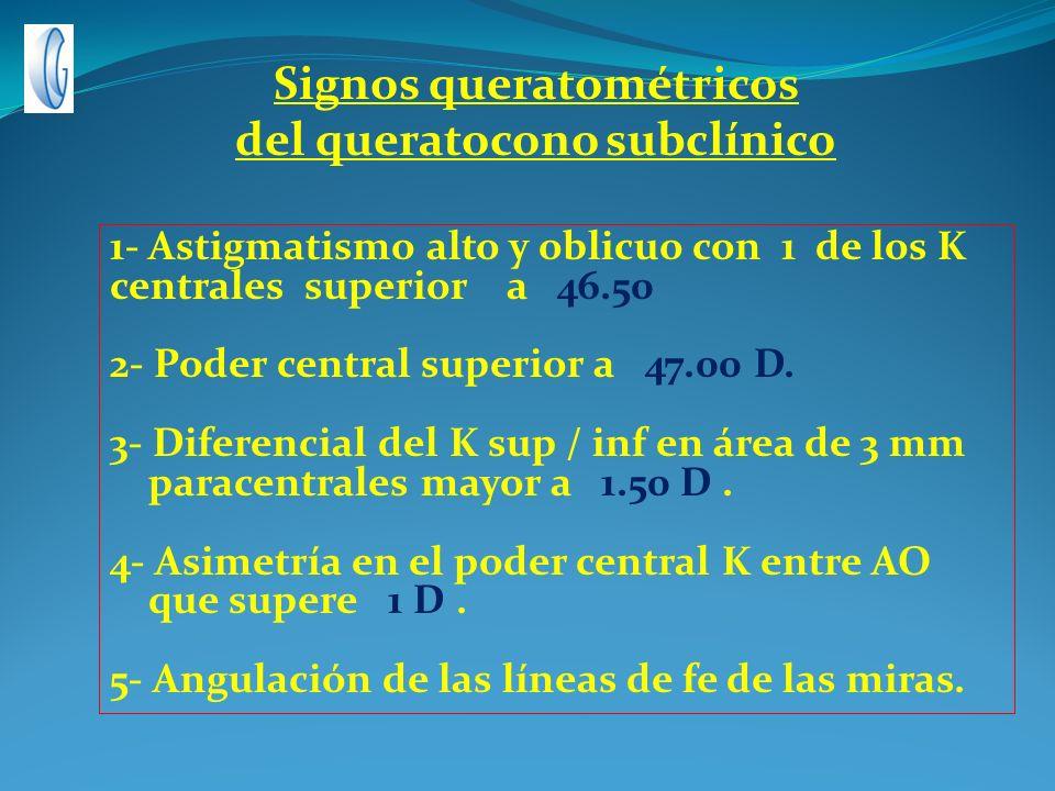 1- Astigmatismo alto y oblicuo con 1 de los K centrales superior a 46.50 2- Poder central superior a 47.00 D. 3- Diferencial del K sup / inf en área d