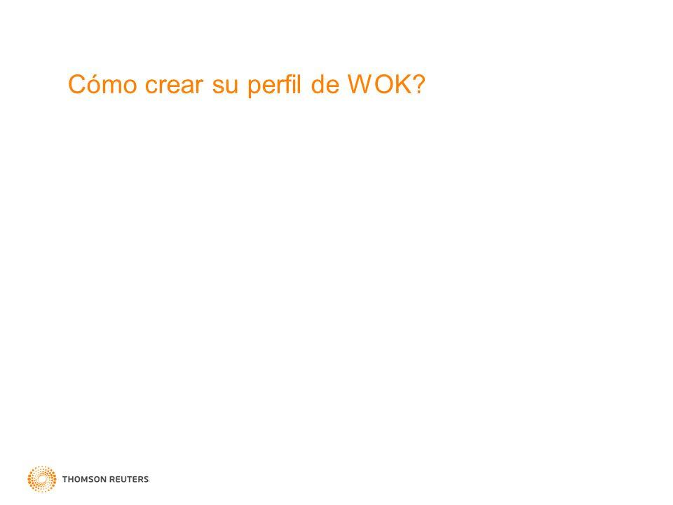 Cómo crear su perfil de WOK