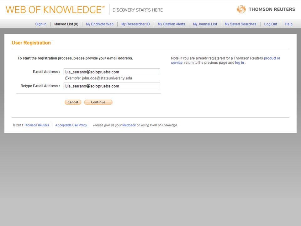 21 Llene el formulario, acepte las condiciones de uso y presione el botón submit changes para continuar.