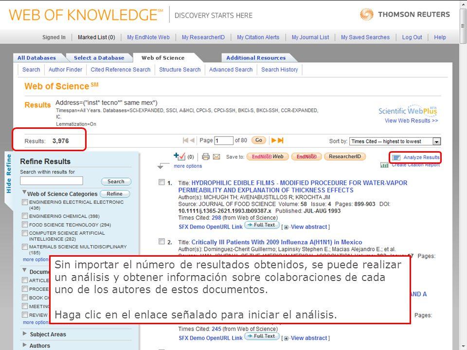 44 Sin importar el número de resultados obtenidos, se puede realizar un análisis y obtener información sobre colaboraciones de cada uno de los autores de estos documentos.