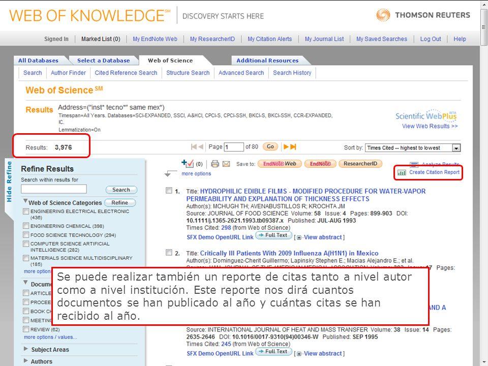 49 Se puede realizar también un reporte de citas tanto a nivel autor como a nivel institución.