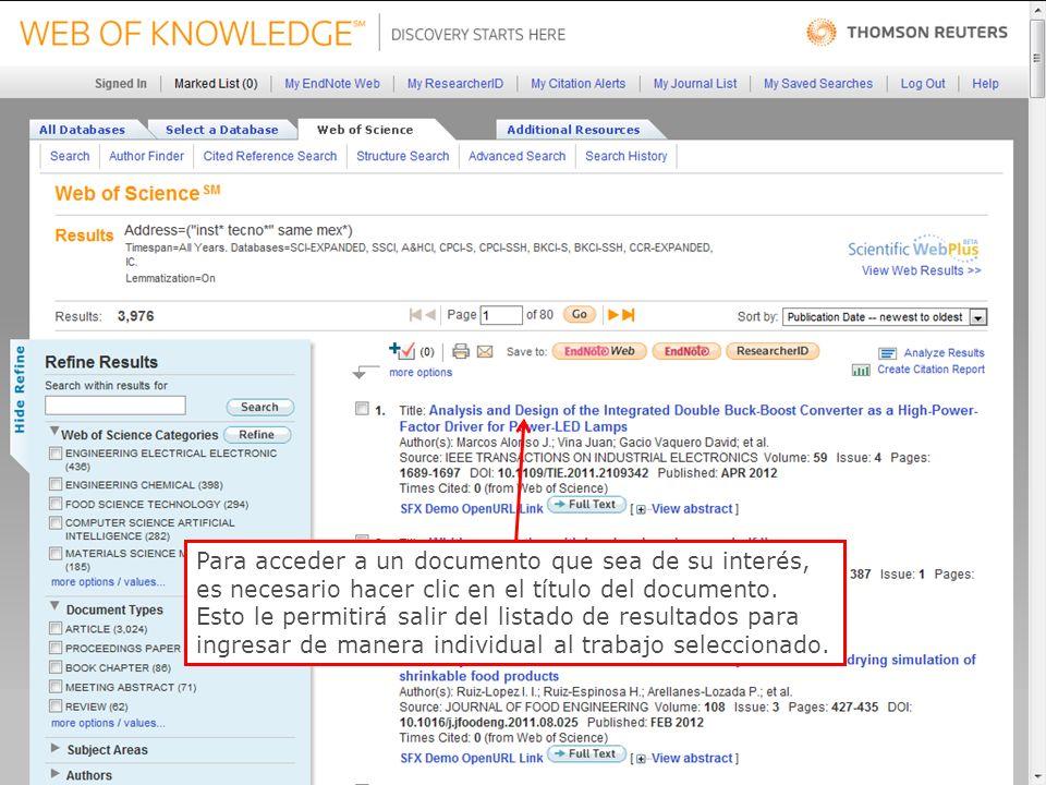 54 Para acceder a un documento que sea de su interés, es necesario hacer clic en el título del documento.