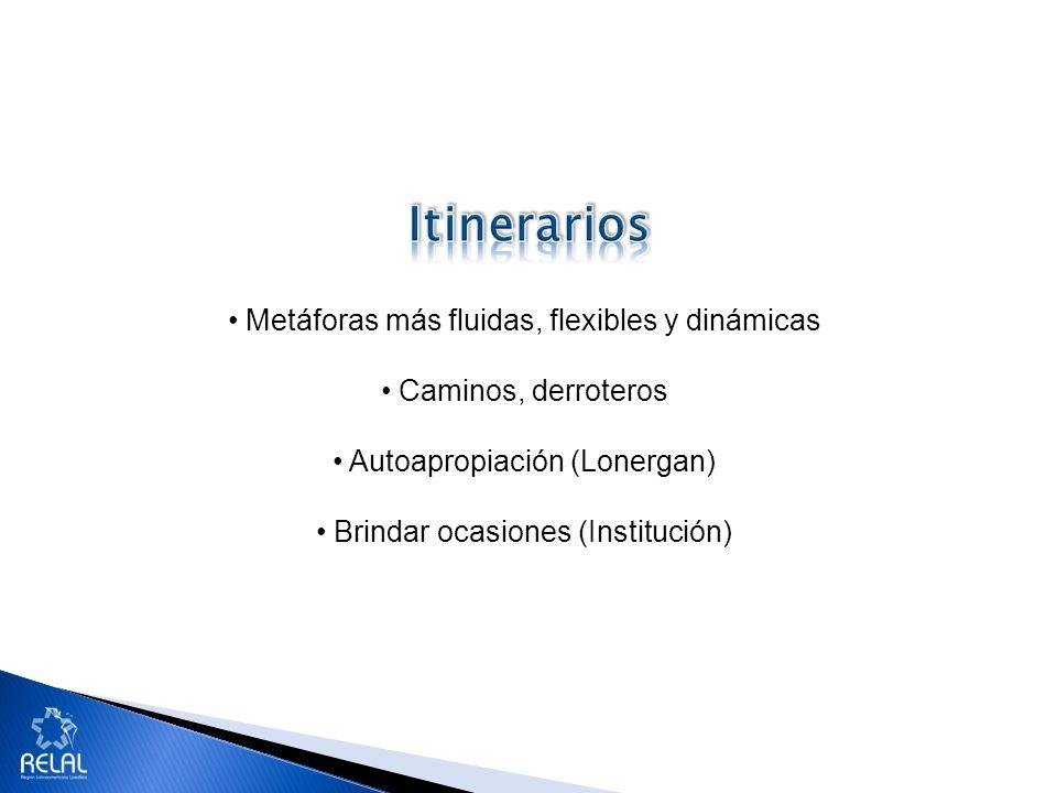 Metáforas más fluidas, flexibles y dinámicas Caminos, derroteros Autoapropiación (Lonergan) Brindar ocasiones (Institución)