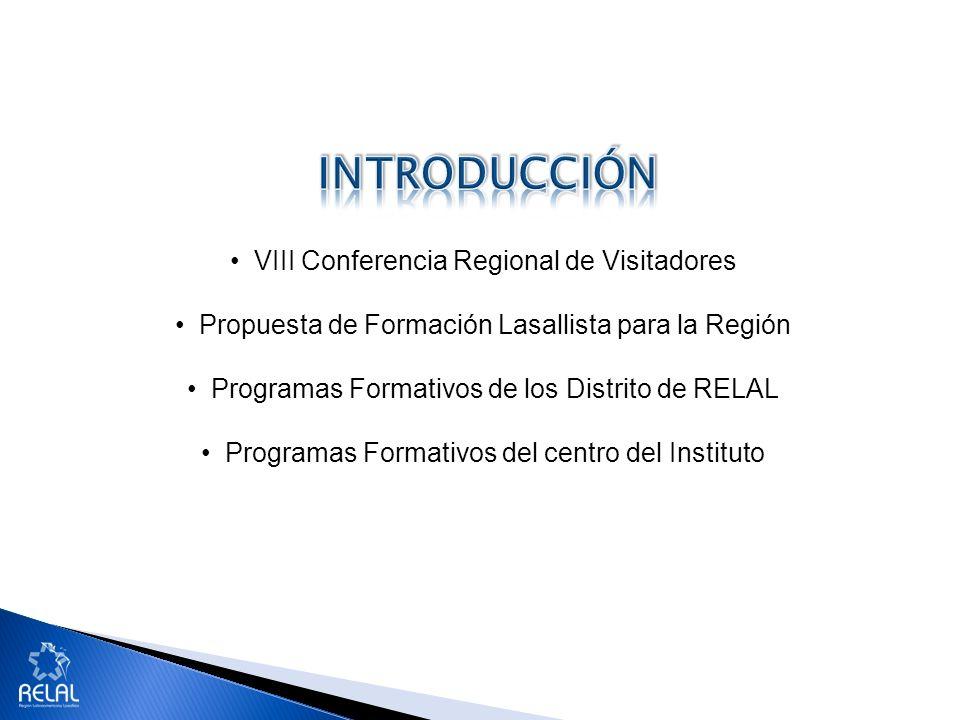 VIII Conferencia Regional de Visitadores Propuesta de Formación Lasallista para la Región Programas Formativos de los Distrito de RELAL Programas Form