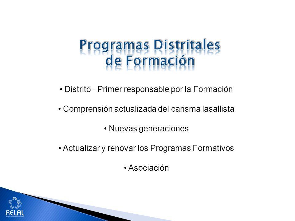 Distrito - Primer responsable por la Formación Comprensión actualizada del carisma lasallista Nuevas generaciones Actualizar y renovar los Programas Formativos Asociación