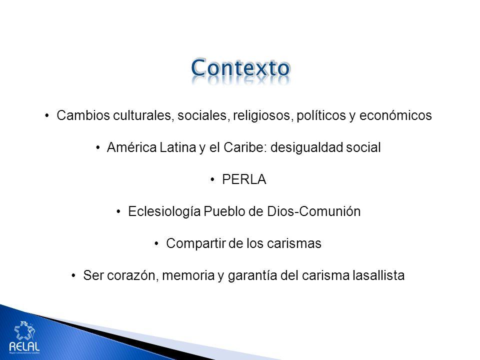 Cambios culturales, sociales, religiosos, políticos y económicos América Latina y el Caribe: desigualdad social PERLA Eclesiología Pueblo de Dios-Comu