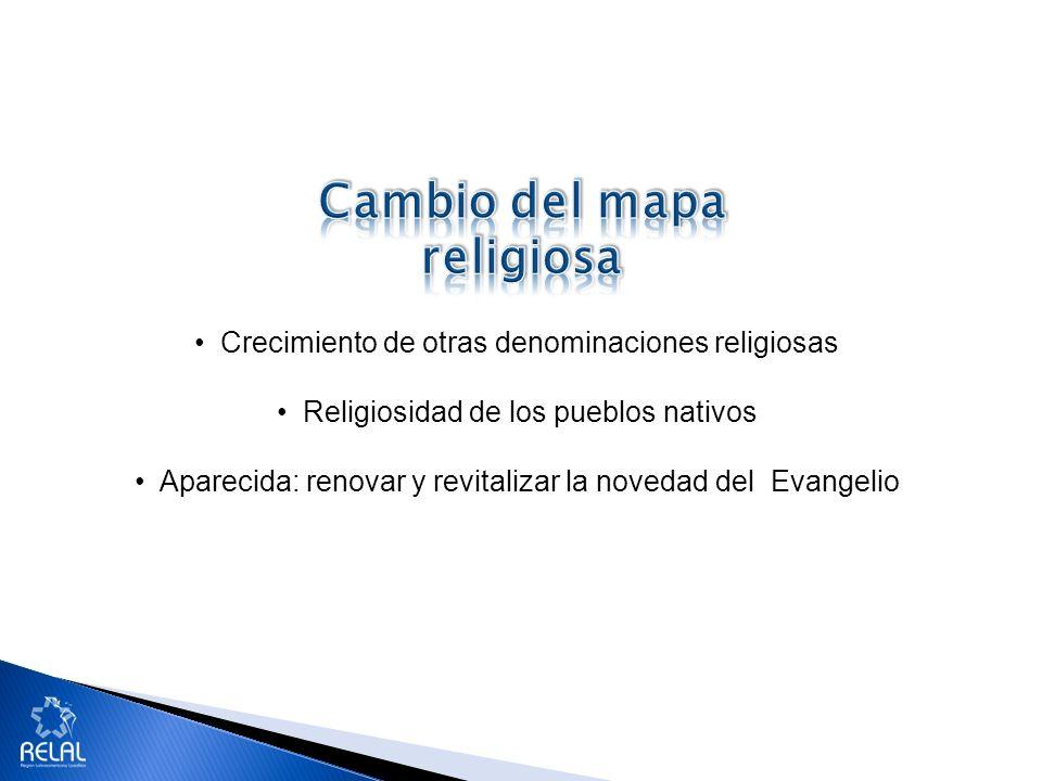 Crecimiento de otras denominaciones religiosas Religiosidad de los pueblos nativos Aparecida: renovar y revitalizar la novedad del Evangelio