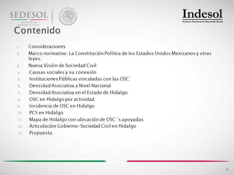 En México, como en el mundo, y en el Estado de Hidalgo las diversas expresiones de la sociedad civil organizada manifiestan su interés y generan actuación para incidir en lo público.