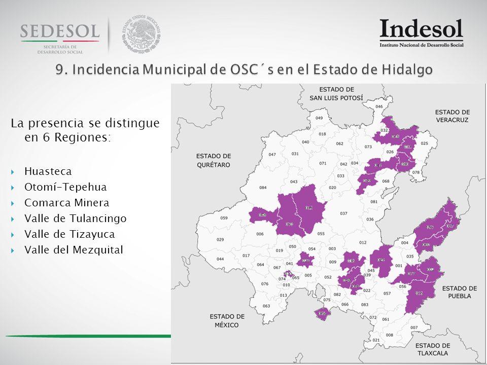 La presencia se distingue en 6 Regiones: Huasteca Otomí-Tepehua Comarca Minera Valle de Tulancingo Valle de Tizayuca Valle del Mezquital 20