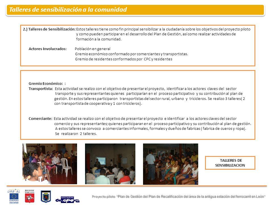 Talleres de sensibilización a la comunidad Proyecto piloto Plan de Gestión del Plan de Recalificación del área de la antigua estación del ferrocarril