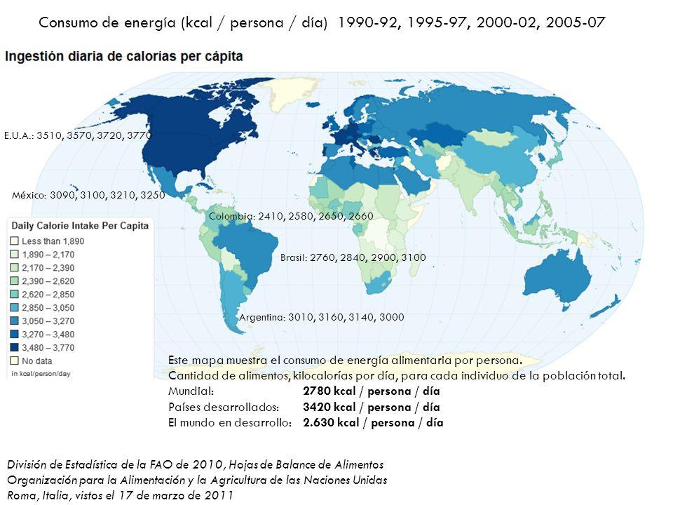 División de Estadística de la FAO de 2010, Hojas de Balance de Alimentos Organización para la Alimentación y la Agricultura de las Naciones Unidas Roma, Italia, vistos el 17 de marzo de 2011 Consumo de energía (kcal / persona / día) 1990-92, 1995-97, 2000-02, 2005-07 Brasil: 2760, 2840, 2900, 3100 México: 3090, 3100, 3210, 3250 Argentina: 3010, 3160, 3140, 3000 Colombia: 2410, 2580, 2650, 2660 E.U.A.: 3510, 3570, 3720, 3770 Este mapa muestra el consumo de energía alimentaria por persona.