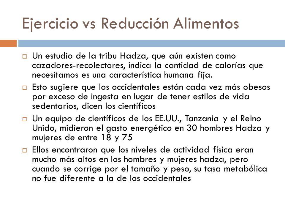 Ejercicio vs Reducción Alimentos Un estudio de la tribu Hadza, que aún existen como cazadores-recolectores, indica la cantidad de calorías que necesitamos es una característica humana fija.