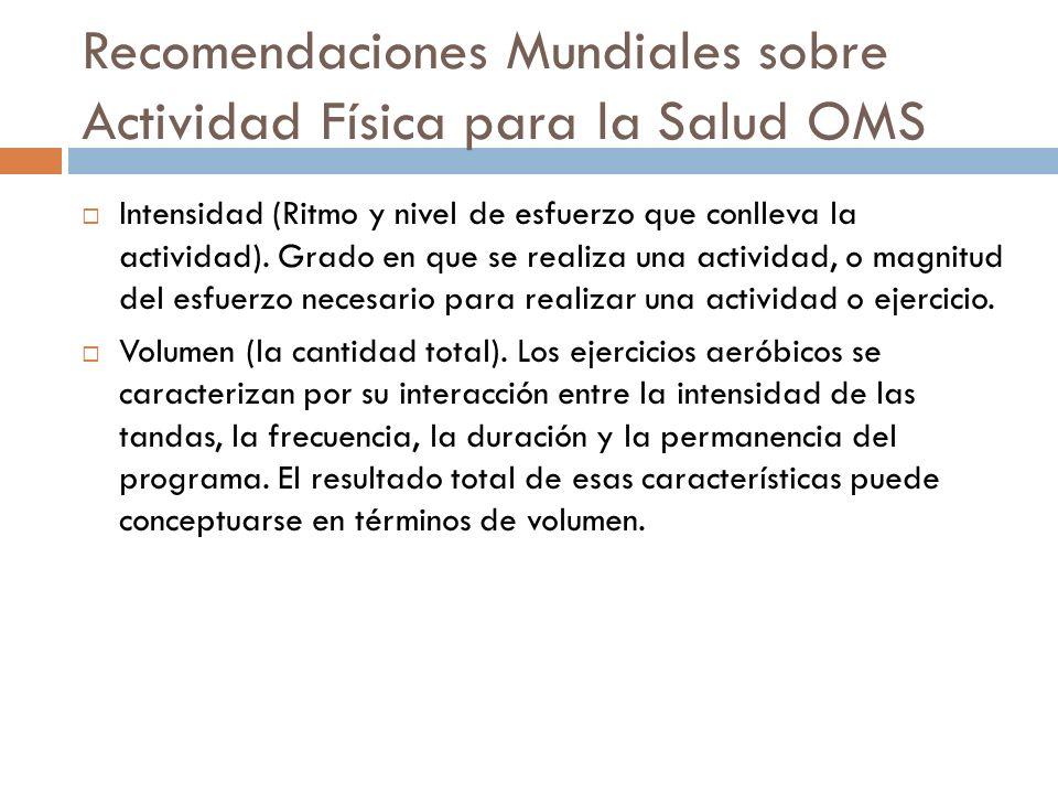 Recomendaciones Mundiales sobre Actividad Física para la Salud OMS Actividad física moderada.