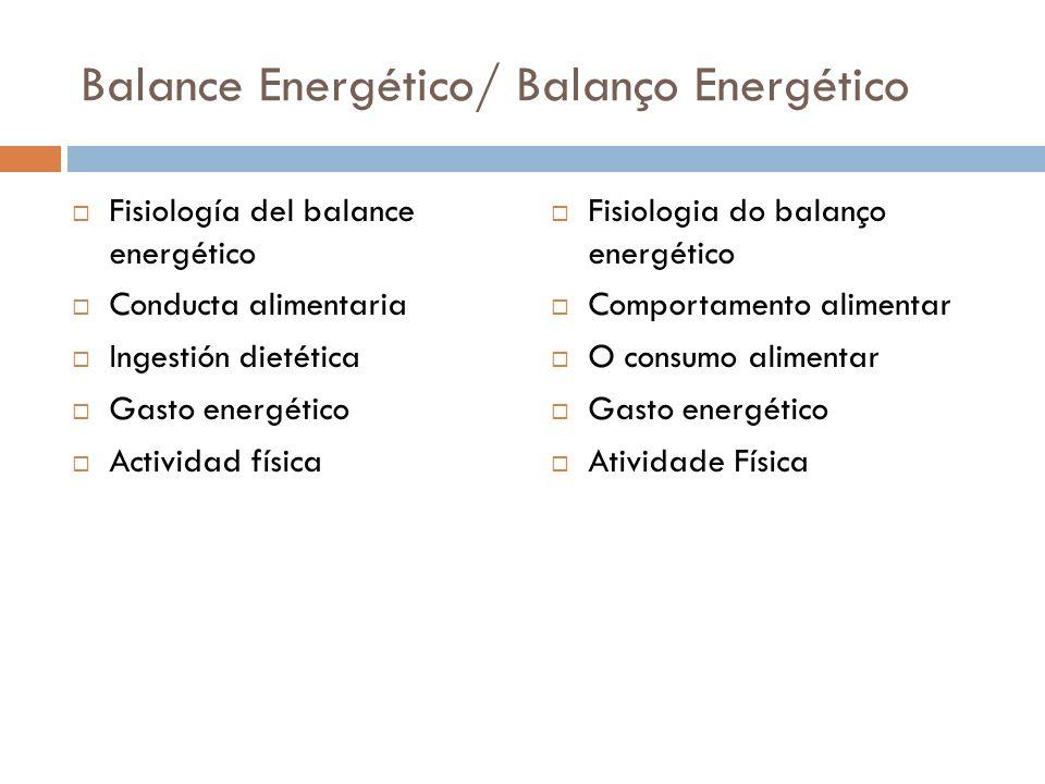Balance Energético/ Balanço Energético Fisiología del balance energético Conducta alimentaria Ingestión dietética Gasto energético Actividad física Fisiologia do balanço energético Comportamento alimentar O consumo alimentar Gasto energético Atividade Física
