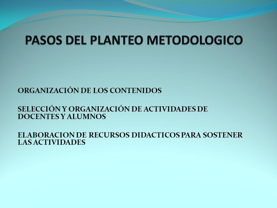 ORGANIZACIÓN DE LOS CONTENIDOS SELECCIÓN Y ORGANIZACIÓN DE ACTIVIDADES DE DOCENTES Y ALUMNOS ELABORACION DE RECURSOS DIDACTICOS PARA SOSTENER LAS ACTIVIDADES