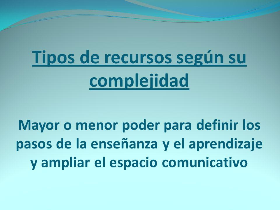 Tipos de recursos según su complejidad Mayor o menor poder para definir los pasos de la enseñanza y el aprendizaje y ampliar el espacio comunicativo