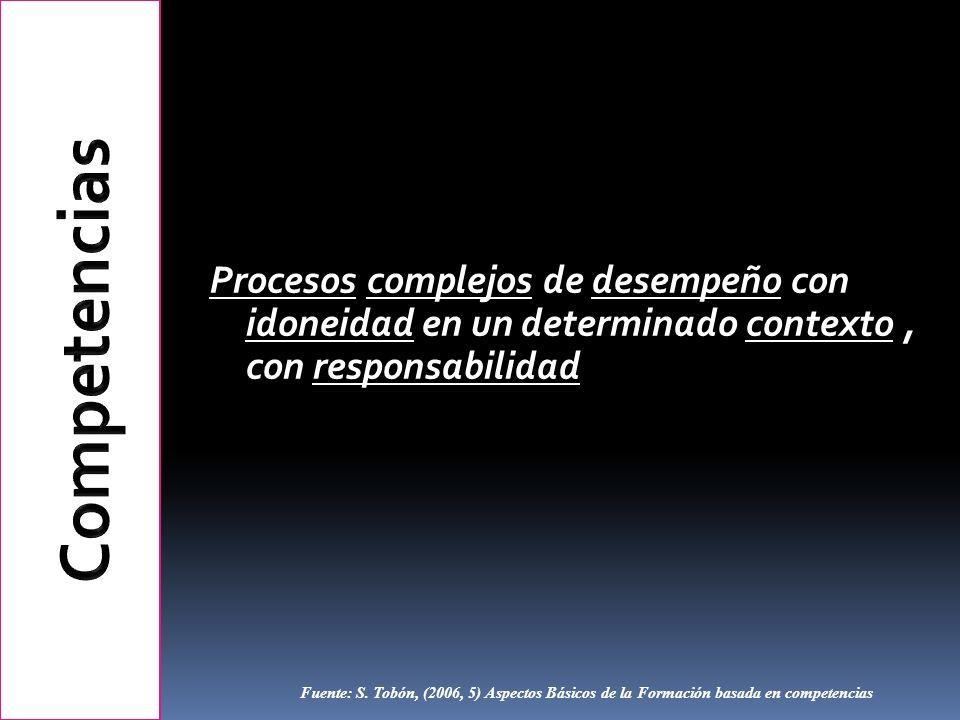 Procesos complejos de desempeño con idoneidad en un determinado contexto, con responsabilidad Fuente: S. Tobón, (2006, 5) Aspectos Básicos de la Forma