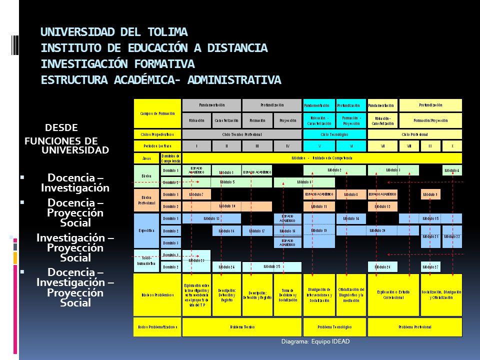 UNIVERSIDAD DEL TOLIMA INSTITUTO DE EDUCACIÓN A DISTANCIA INVESTIGACIÓN FORMATIVA ESTRUCTURA ACADÉMICA- ADMINISTRATIVA DESDE FUNCIONES DE UNIVERSIDAD