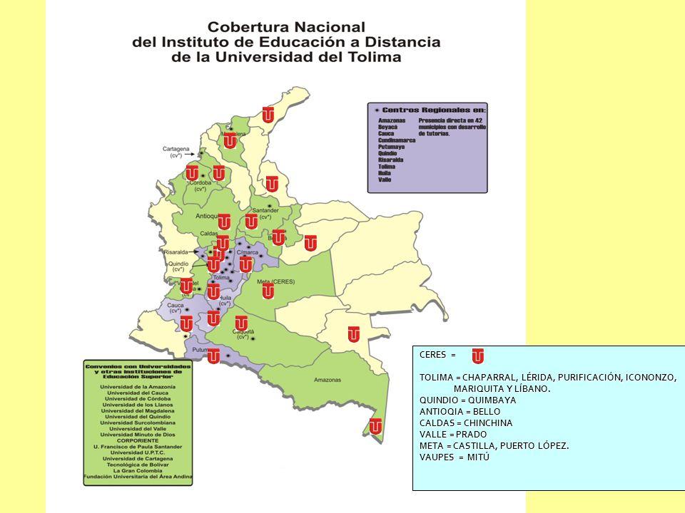www.ut.edu.co/idead Cobertura en el País Instituto de Educación a Distancia www.ut.edu.co Cobertura a Nivel Nacional CERES = TOLIMA = CHAPARRAL, LÉRID