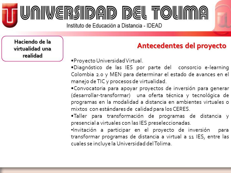 Antecedentes del proyecto Proyecto Universidad Virtual. Diagnóstico de las IES por parte del consorcio e-learning Colombia 2.0 y MEN para determinar e