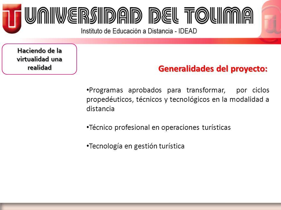 Generalidades del proyecto: Generalidades del proyecto: Programas aprobados para transformar, por ciclos propedéuticos, técnicos y tecnológicos en la