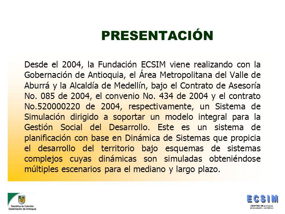 CENTRO DE ESTUDIOS EN ECONOMÍA SISTÉMICA PRESENTACIÓN Desde el 2004, la Fundación ECSIM viene realizando con la Gobernación de Antioquia, el Área Metr